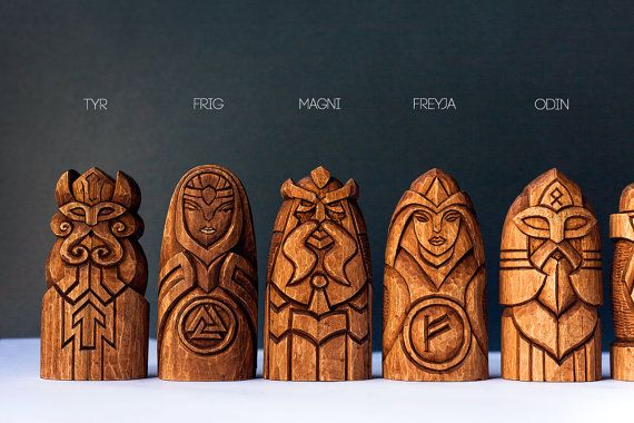 Very beautifull set of 9 Nordic Gods. The statues are hand carwed from the linden wood. It would very nice fit into any home/pub decor!  The set include: Odin, Thor, Freyja, Frig, Magni, Tyr, Heimdallr, Hel and Loki.  It`s very great gift for him or her. Dimensions: 13 cmc tall/statue. Linden with mordant. On the back side is names on the runic language.  One of a kind in the world.  Your item will be shipped using a trackable service. A tracking number is available on request...