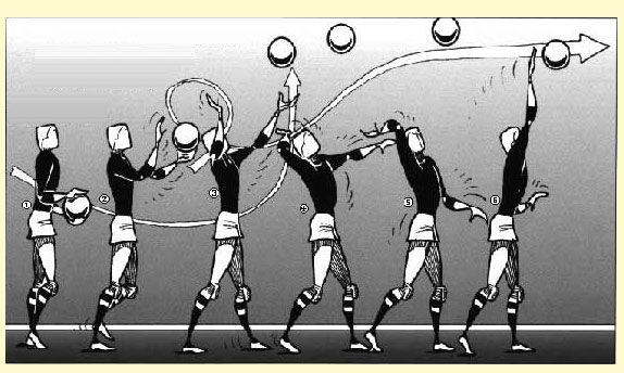 Volleybal bovenhandse opslag.