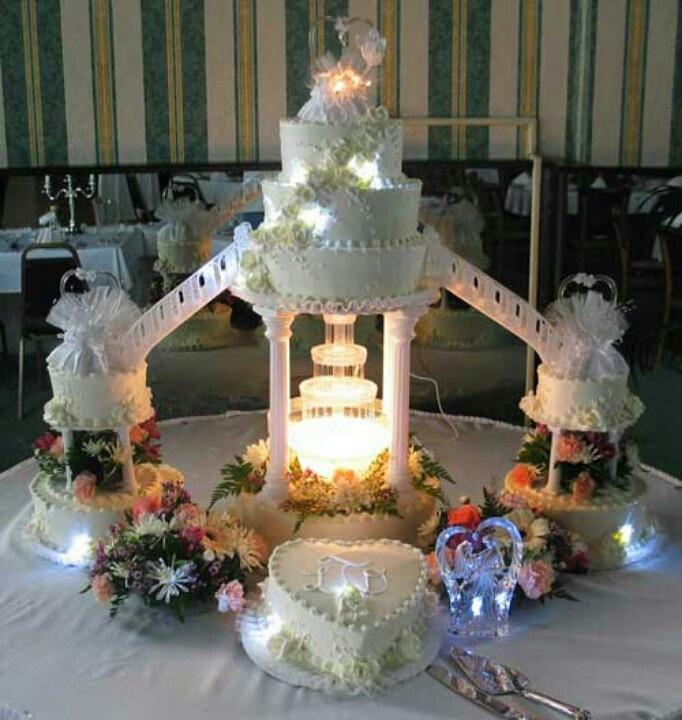 Wedding Cake Designs With Small Pond Bridge