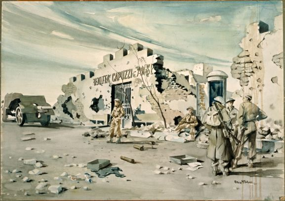 Peter McIntyre (1910-1995) - NZers at Fort Capuzzo, 1943-44