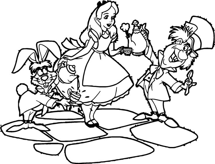 Alice In The Wonderland Tea And Coffee Coloring Page ...