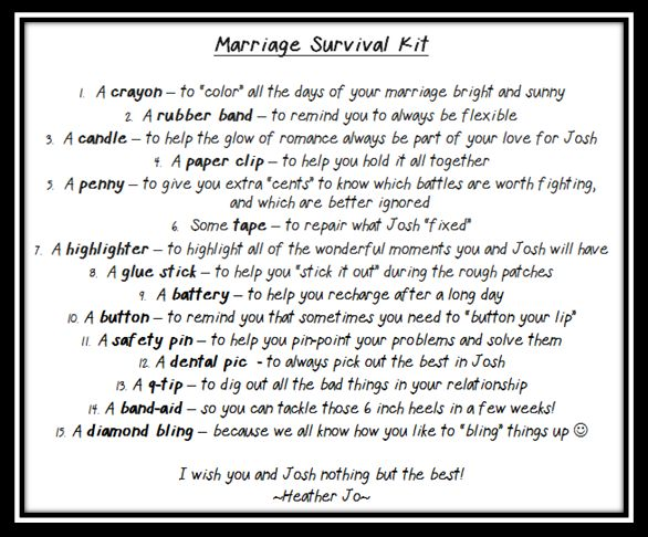 Wedding Shower Gift - Marriage Survival Kit