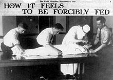 In the United Kingdom, force-feeding was used against hunger-striking suffragettes, until the Cat and Mouse Act of 1913. Rubber tubes were inserted through the mouth (only occasionally through the nose) and into the stomach, and food poured down; the suffragettes were held down by force while the instruments were inserted into their bodies, an experience which has been likened to rape.