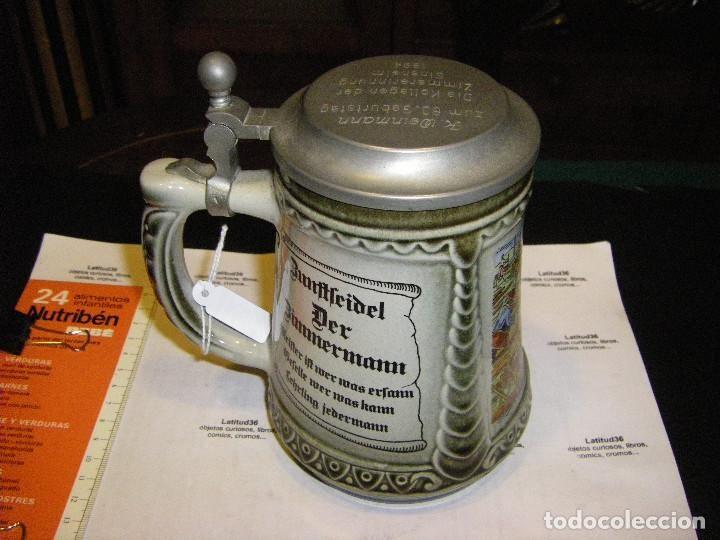 Coleccionismo de cervezas: Jarra de cerveza alemana cerámica y metal