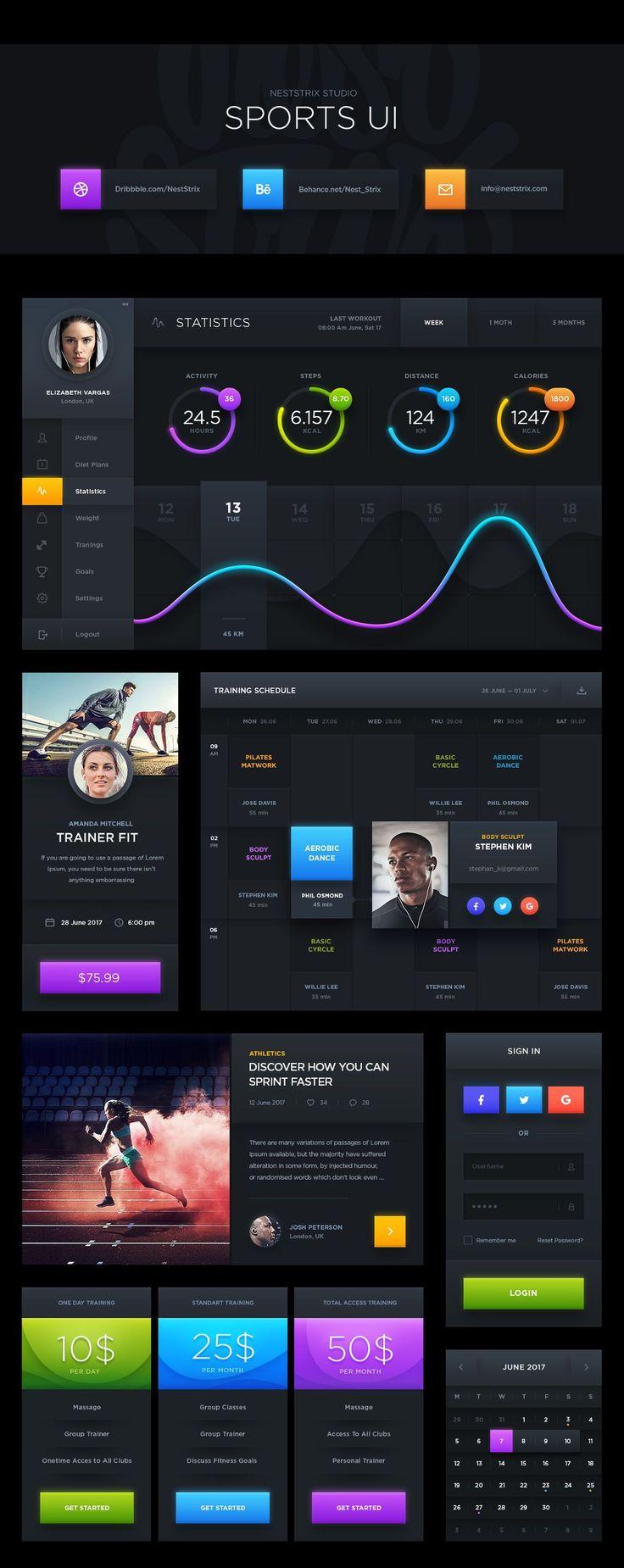 Free Dark Sports UI Kit by NestStrix Design
