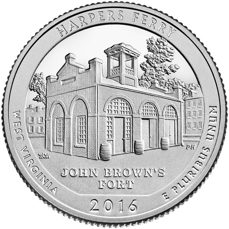 """The design features John Brown Fort, the site of John Brown's last stand during his raid on the Harper's Ferry Armory. Inscriptions are """"HARPERS FERRY,"""" """"WEST VIRGINIA,"""" """"JOHN BROWN'S FORT,"""" """"2016"""" and """"E PLURIBUS UNUM."""""""