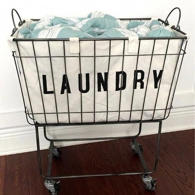 Fabric Lined Metal Rolling Laundry Cart Diylaundryroom