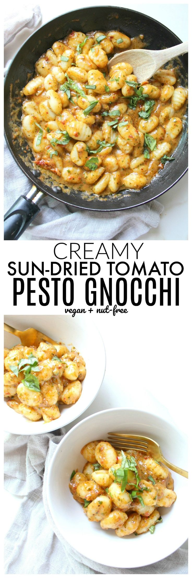This Creamy Vegan Sun-Dried Tomato Pesto Gnocchi is a flavor explosion with fresh basil, marinated tomatoes and garlic. Ready in just 20 minutes!   ThisSavoryVegan.com