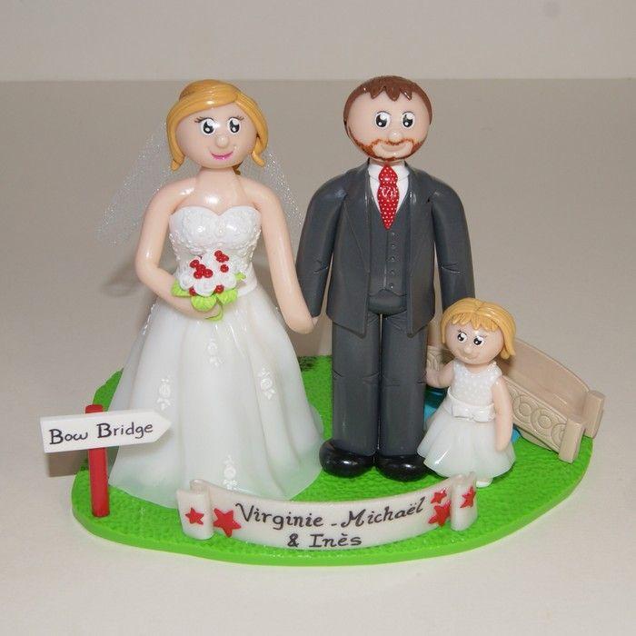 Wedding cake topper / figurines personnalisées / mariage / famille / Central Park / New York / Bow bridge