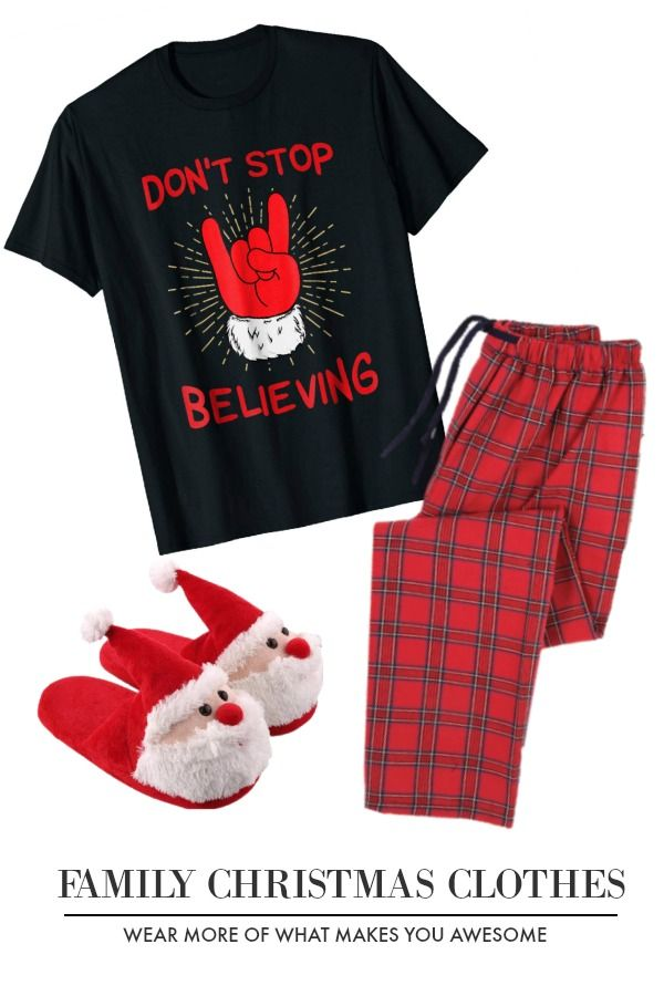 70913748 Family Christmas Clothes Christmas Don't Stop Believing Shirt Funny Santa  Rocker #DontStopBelieving #Santa #SantaClaus #Christmas #Holiday…