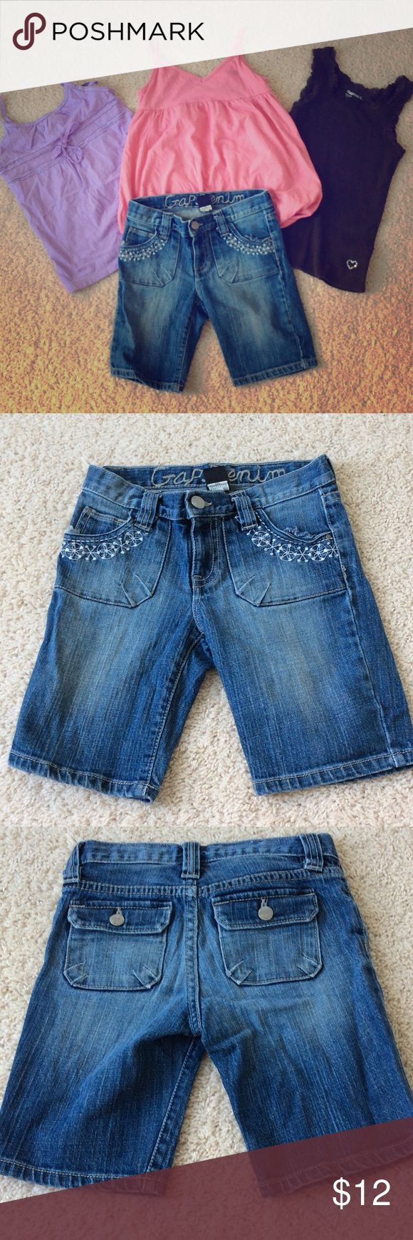 4 pieces of Gap clothing size 6-7 4 pieces of Gap clothing size 6-7. Blue denim embroidered jeans are size 7 regular. Tops are all size 6-7 GAP Shirts & Tops