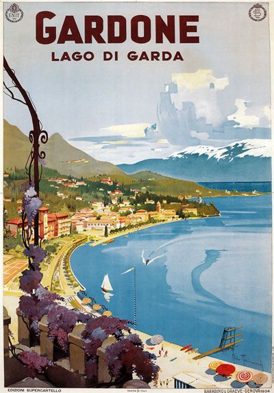 TU99 Vintage 1930's Italian Italy Gardone Lake Garda Travel Poster Re-Print A4
