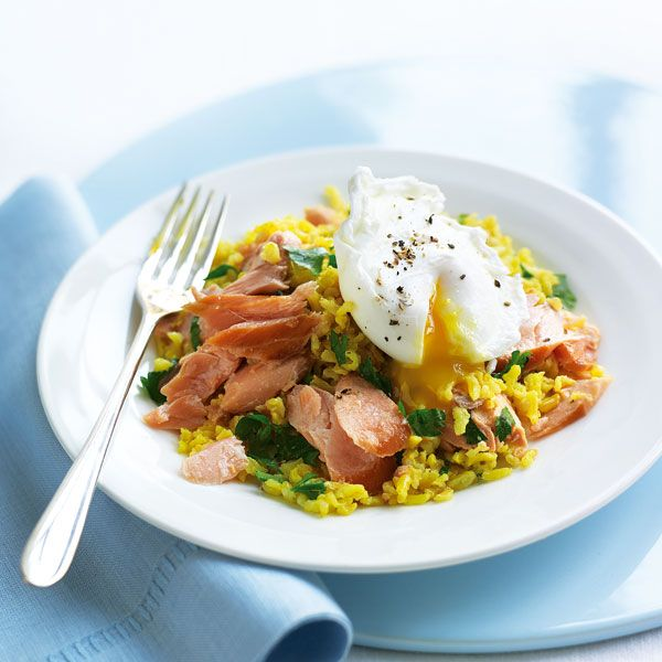 You can make this versatile hot smoked salmon kedgeree recipe for breakfast, lunch or dinner.