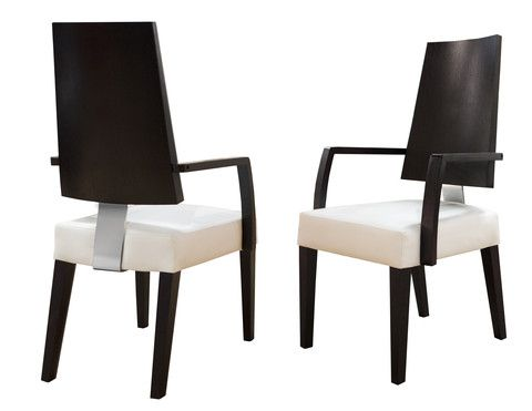 The Rocco Chair is a beautiful modern tall seat back dining chair. This dining chair epitomizes contemporary style with its blend of dark wood, bonded leather and chrome accent. Simple, yet elegant, this modern dining chair will be a perfect fit in any contemporary dining room. This stunning chair is available as an arm chair and a side chair. This chair can fit to any of our dining room collections.