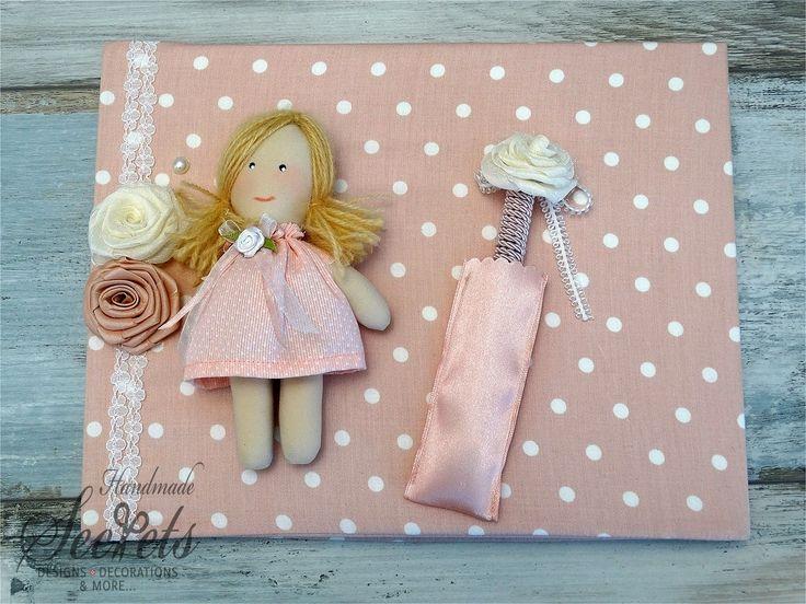 Βιβλίο ευχών για βαφτίσια κοριτσιού με κούκλα και λουλούδια, annassecret, Χειροποιητες μπομπονιερες γαμου, Χειροποιητες μπομπονιερες βαπτισης