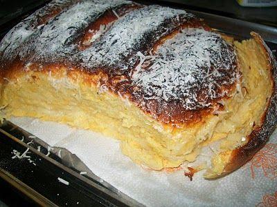 Pão de milho e leite condensado c/ recheio de creme de coco