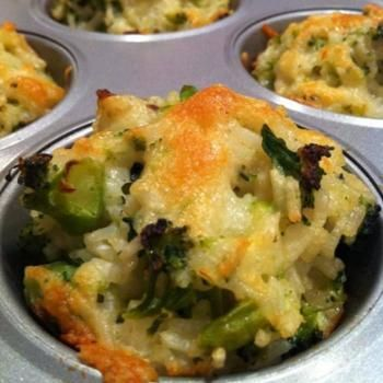 Baked Cheddar Broccoli Rice Cups Grease these cups liberally with Granny's Good Ol' Fashion Bacon Drippings.  I think this recipe looks really good...but then, I like broccoli!!