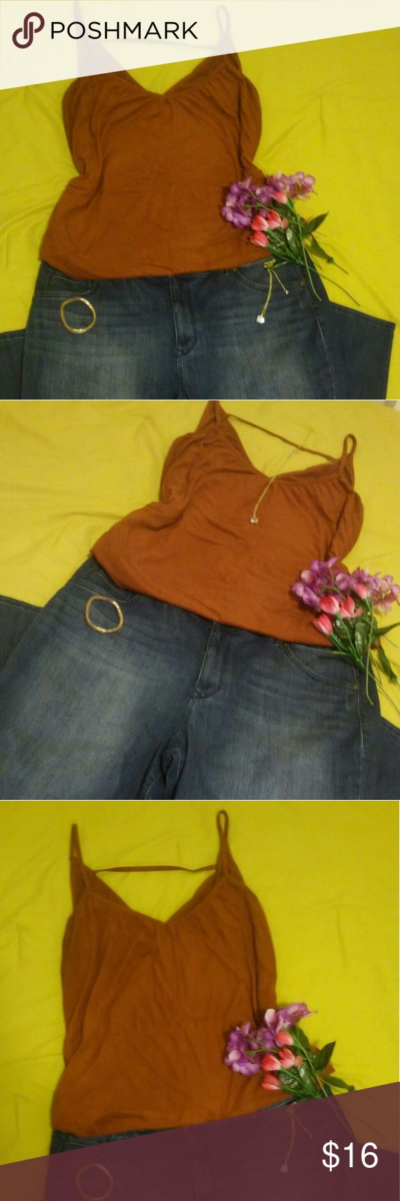 "👑 ASOS CURVE +""Summer days and lemonade"" Shirt 👑Back to school flash sale!  ASOS Curve Strappy Top in Autumn Burnt orange (color is a pretty orange brown autumn leaf color)  Nicely fits a true to size 3x (24)  Hugs bust. Drapes along waist. Stretch felt material👌  If you like a oversized trendy hipster look a 2x TOO *Not torrid, labeled Torrid only for plus size exposure* ASOS Curve Tops Tank Tops"