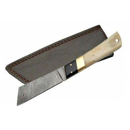 Couteau Machette Style Lame Damas 258 Couches Manche Micarta/Os Etui Cuir DM1094 - Livraison Gratuite