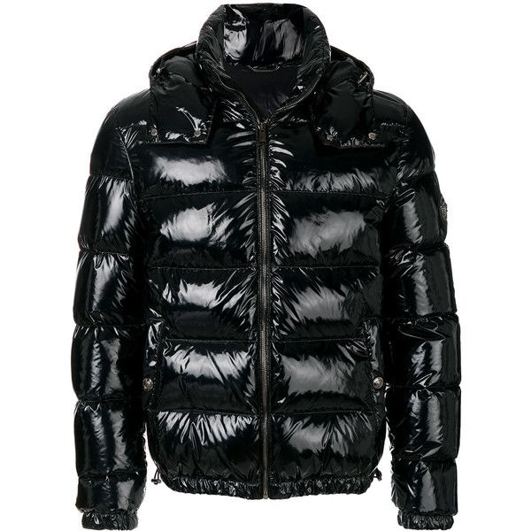 Versace Patent Look Puffer Jacket 2 025 Liked On Polyvore Featuring Men S Fashion Men S Clothing Men S Out Black Puffer Jacket Hooded Jacket Men Versace