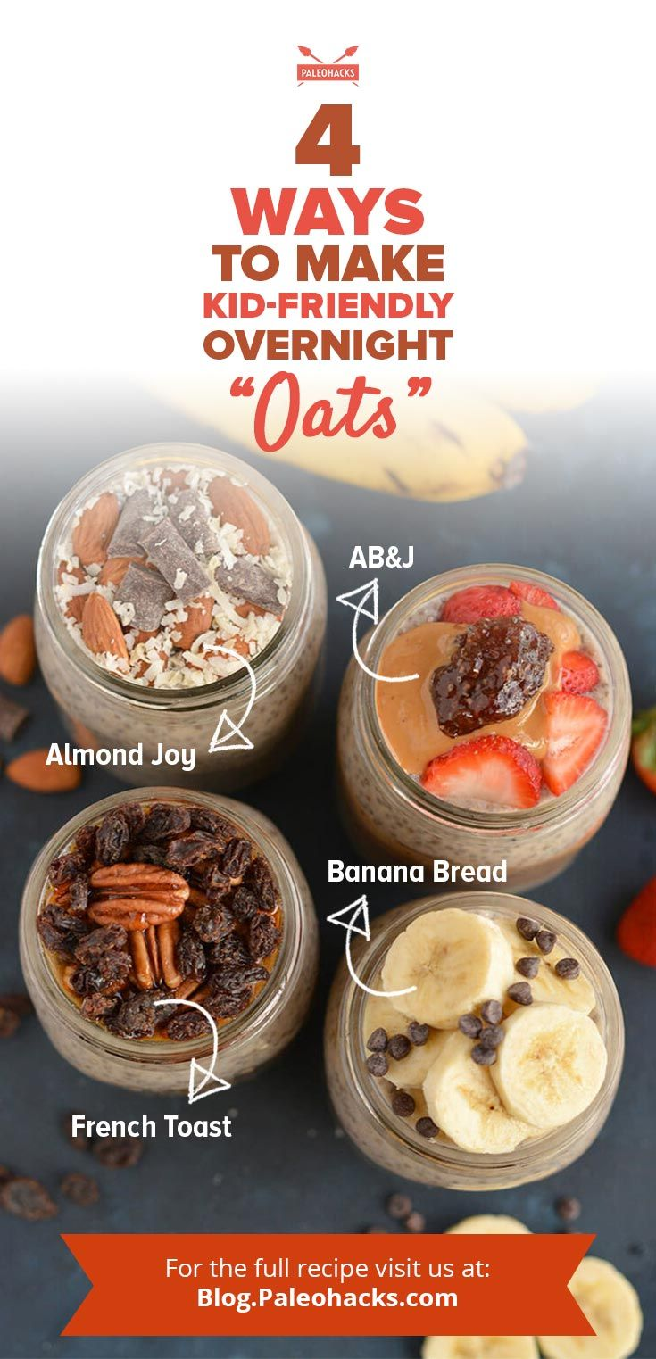 "Make Paleo overnight ""oats"" kid-friendly with fun flavors like  French toast, Almond Joy, banana bread and almond butter 'n jelly! Get all recipes here: http://paleo.co/kidfriendlyoats"