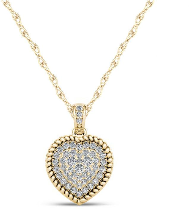 Zales 1/4 CT. T.W. Composite Diamond Heart-Shaped Rope Frame Pendant in 10K Gold