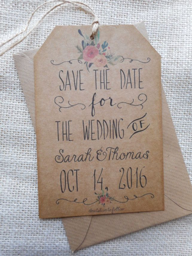 Whimsical Floral Save the Date luggage tags, on kraft brown card with jute x 10 £7.99