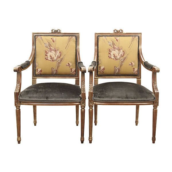 Pre Owned Regency Carved Fauteuils S/2 ($1,875) ❤ Liked On Polyvore