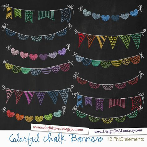 Colorful Chalk Bunting Banners, Rainbow Chalk Banners Clip Art, Chalkboard Digital Banners, Hand Drawn Banners, Chalk ribbons, Ban by DesignOnALara on Etsy