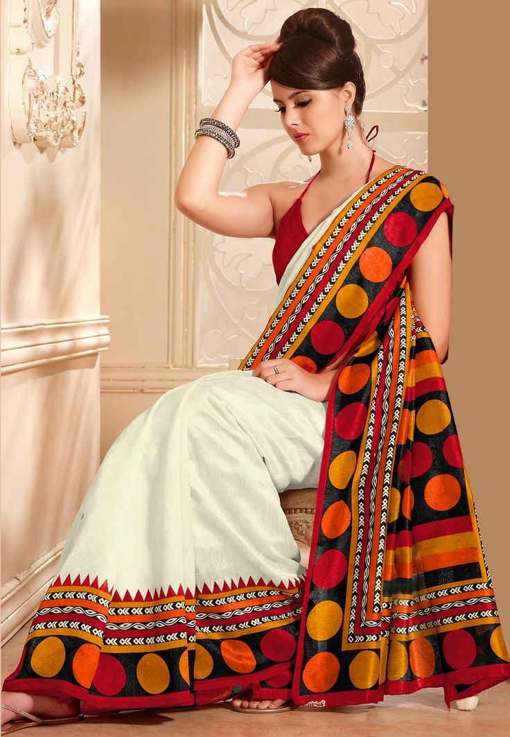 Off White and Red Art Silk Saree with Blouse: STS2421A