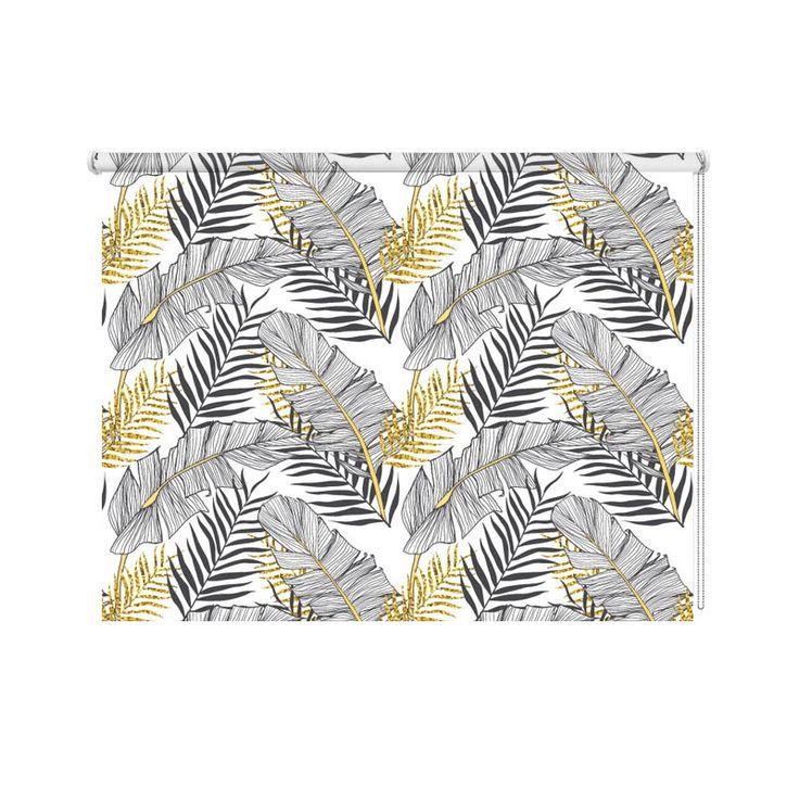 Rolgordijn Bananen bladeren | De rolgordijnen van YouPri zijn iets heel bijzonders! Maak keuze uit een verduisterend of een lichtdoorlatend rolgordijn. Inclusief ophangmechanisme voor wand of plafond! #rolgordijn #gordijn #lichtdoorlatend #verduisterend #goedkoop #voordelig #polyester #bananen #bladeren #patroon #illustratie #goud #zwart #patronen