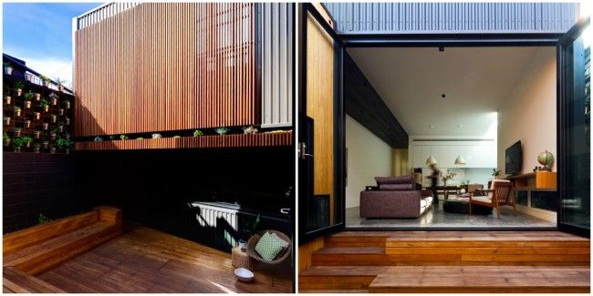 Love the decking - laminated bamboo... Doors leading out. v.similar. Outside timber cladding contrasting against 'Monument' Colorbond metal cladding (interesting!)