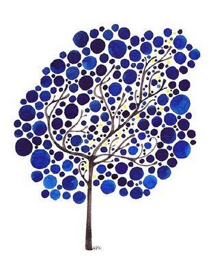 circle tree: Trees Art, Sapphire Dreams, Art Watercolor, Circles Trees, Blue Trees, Art Ideas, Blue Dots, Dreams Prints, Paintings Chips