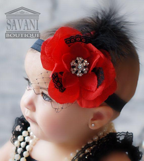 It's killing me!!!  red and black baby headband,vintage headband, shabby chic roses headband, girls headband