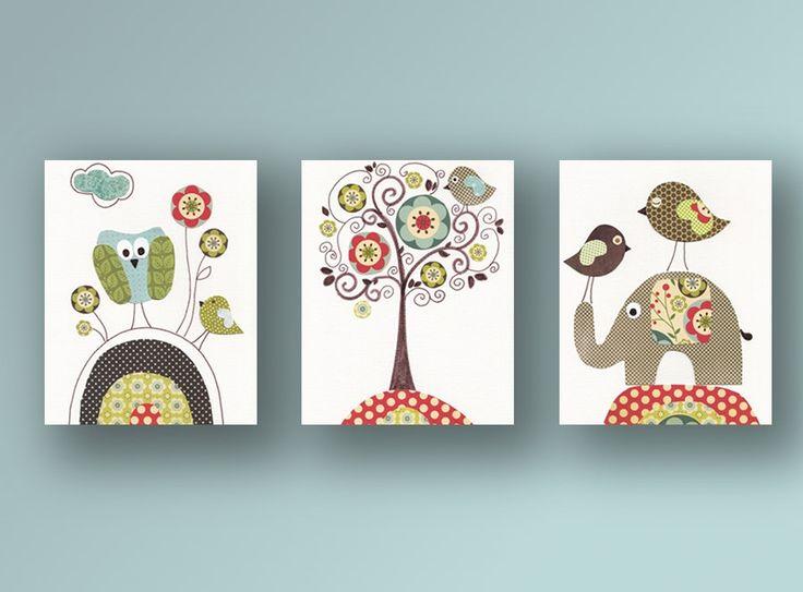 Nursery art print, baby nursery decor, nursery print, baby room decor, Kids art, elephant, owl, bird, Vintage Tree, Set of three 8x10 prints. $42.00, via Etsy.