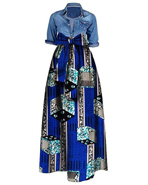 bd3a9fa3a68 Amazon.com AD  shekiss Women s Traditional African Print Dashiki Bodycon  Sleeveless High Collar Dress  africanfashion  africanprint  africandress  Huiyuzhi ...