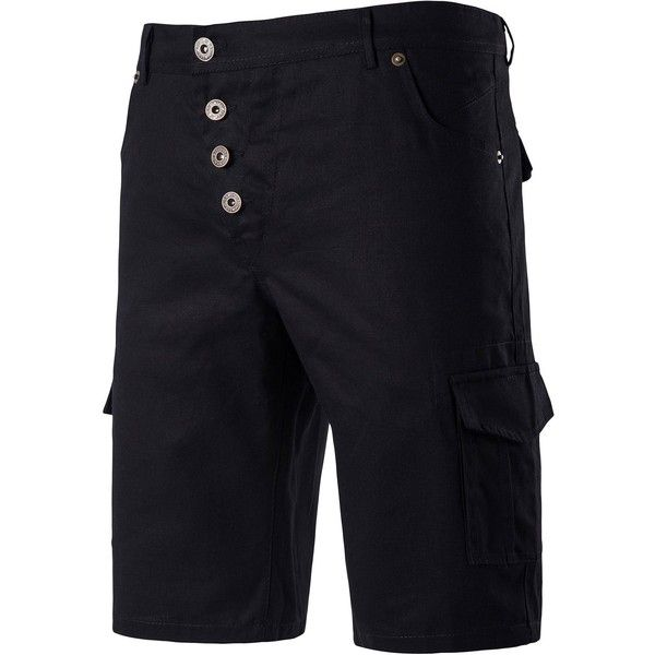 Button Fly Multi Pockets Chino Shorts ($25) ❤ liked on Polyvore featuring men's fashion, men's clothing, men's shorts, mens button fly shorts and mens chino shorts