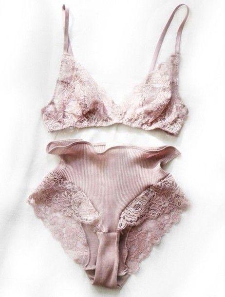 Underwear: dusty pink pink lingerie pink lace lingerie lace pastel pink bridal lingerie lace bra