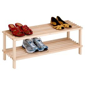 """Keep footwear organized with this eco-friendly wood shoe rack, featuring 2 tiers for your favorite flats and pumps.  Product: Shoe rackConstruction Material: WoodColor: NaturalFeatures:  Two tiersSlatted designEco-friendly Dimensions: 11.6"""" H x 29.1"""" W x 10.4"""" D"""