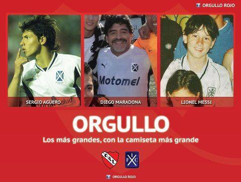 Aguero; Maradona y Messi con camiseta de Independiente de Avellaneda