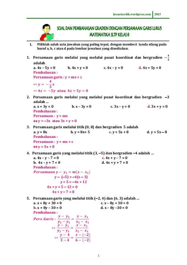 (8.6.1) soal dan pembahasan persamaan garis lurus, matematika sltp kelas 8 by kreasi_cerdik via slideshare