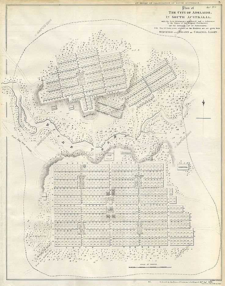 Plan Of The City Of Adelaide In South Australia Surveyed And Drawn By Colonel Light 1837