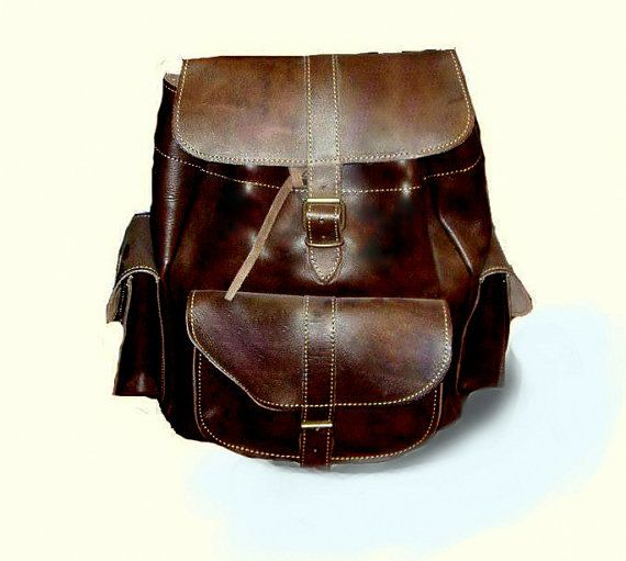 Dark Brown Cowhide leather backpack rucksack - thick leather - 3 pockets  Handmade women Bags, Leather Bag for women, Cool women Bag, Shoulder Bags