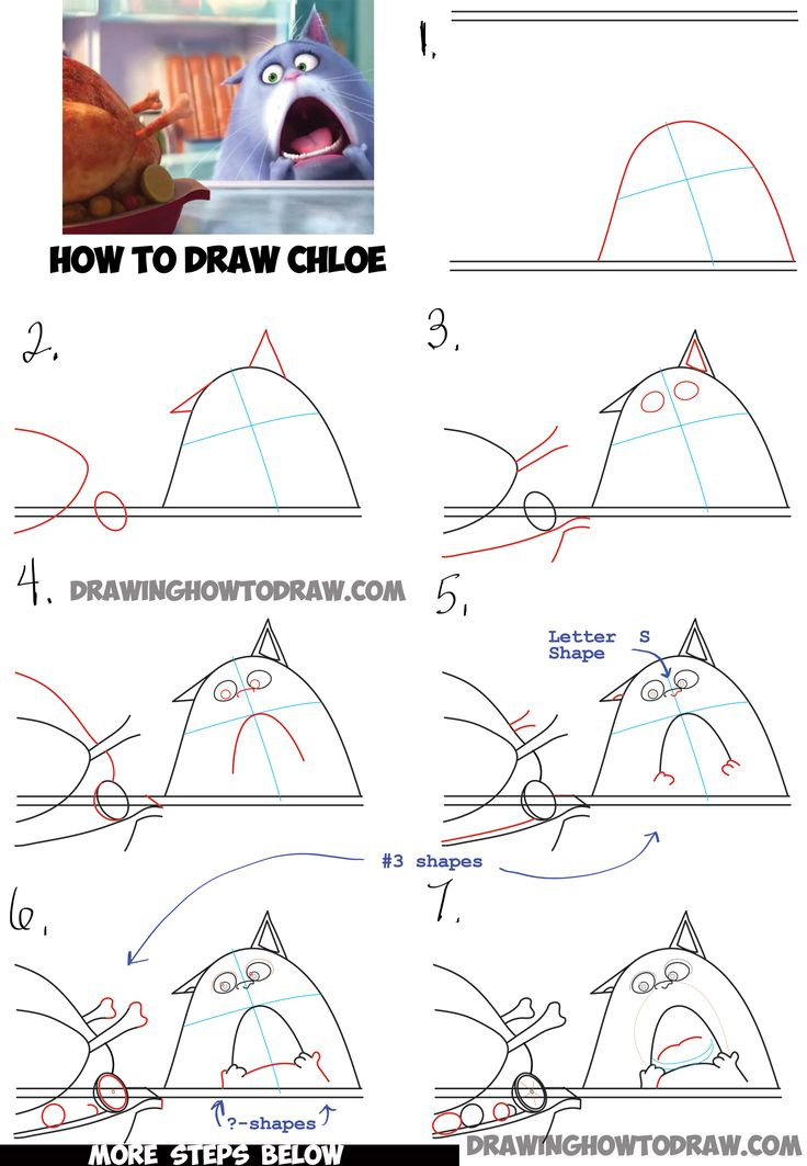 Learn How to Draw Chloe the Cat from The Secret Life of Pets : Simple Step by Step Drawing Lesson for Kids