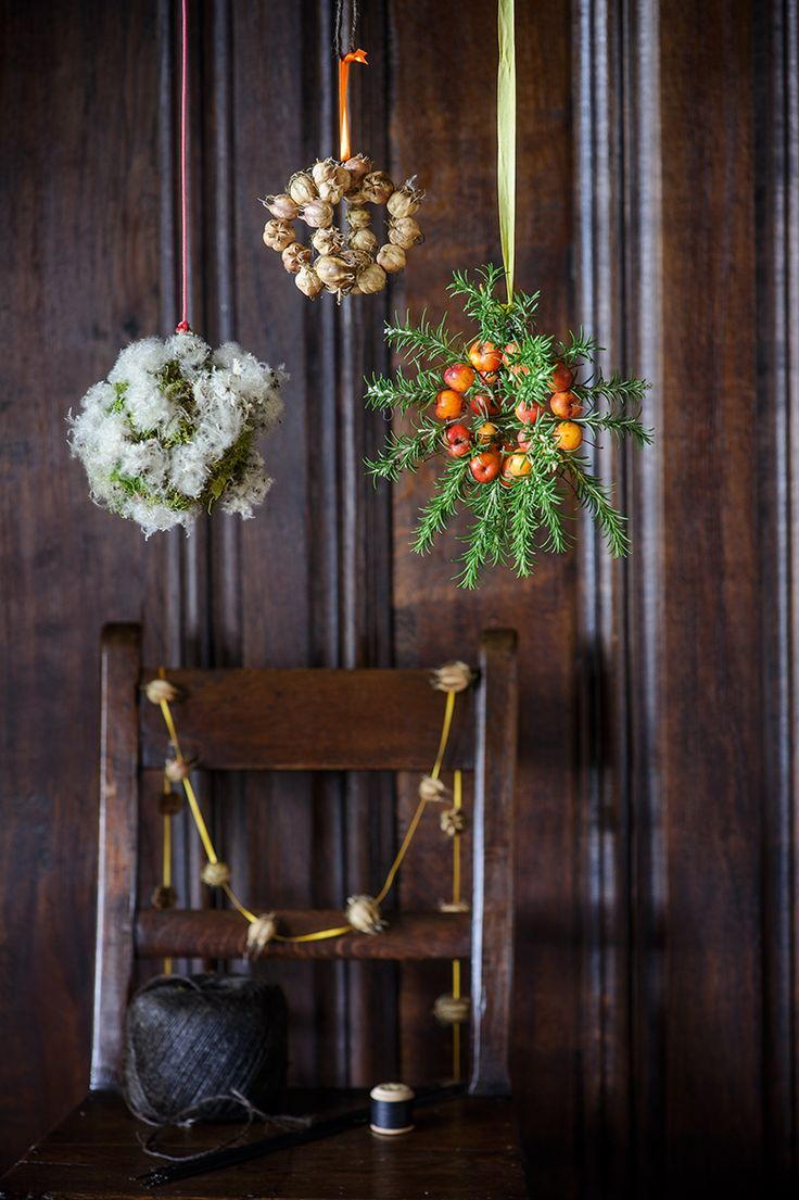 Garden baubles and seed-head garlands Photo by Jason Ingram