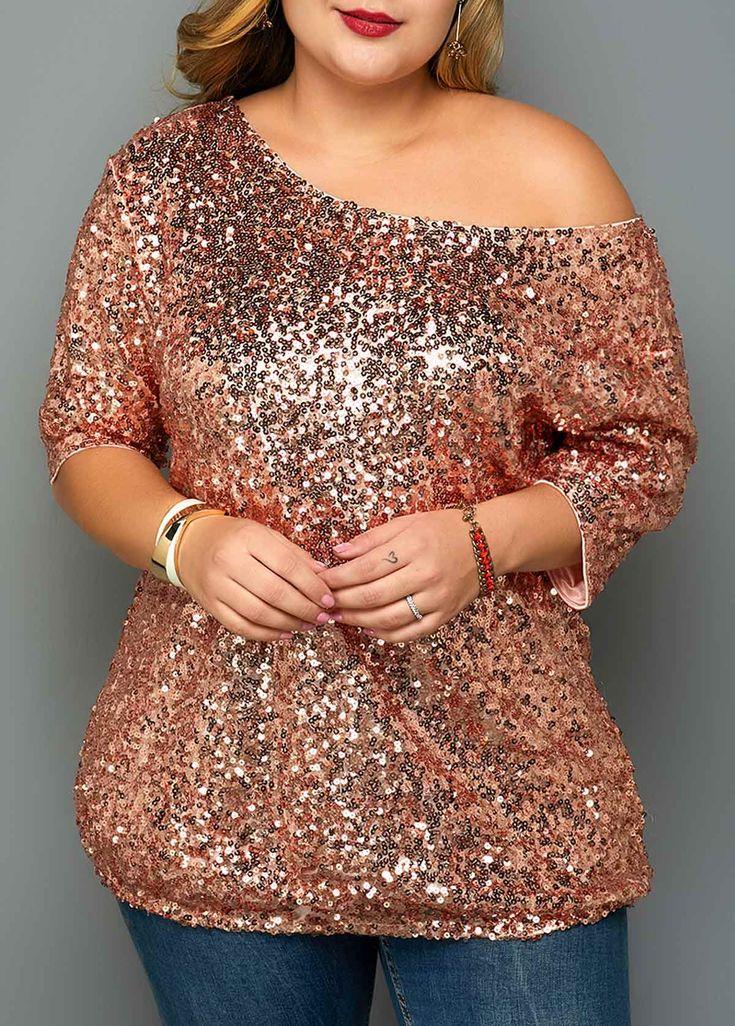 Plus Size Sequin Embellished One Shoulder T Shirt | Rotita.com - USD $32.81 3