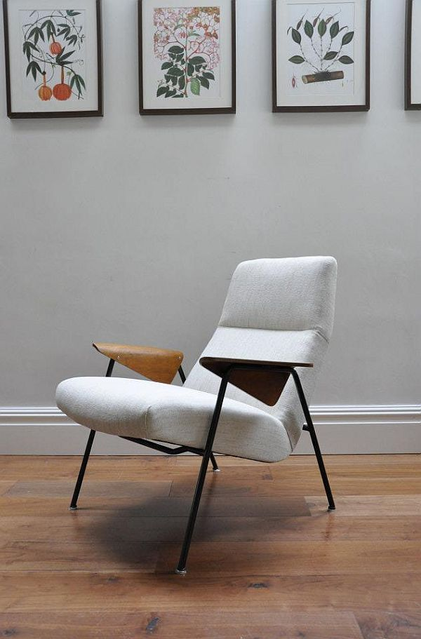 Arno Votteler; #350 Enameled Metal and Molded Plywood Armchair for Knoll, 1952.
