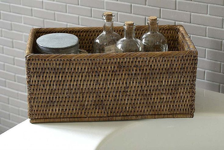 Handwoven rattan wicker basket; perfect for bathroom storage as a toilet roll holder or in the living room to hold CDs