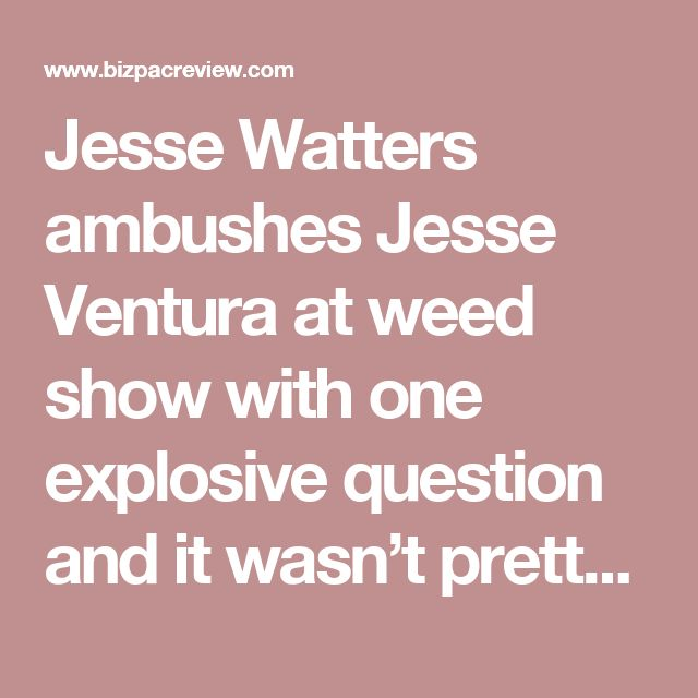 Jesse Watters ambushes Jesse Ventura at weed show with one explosive question and it wasn't pretty | Conservative News Today