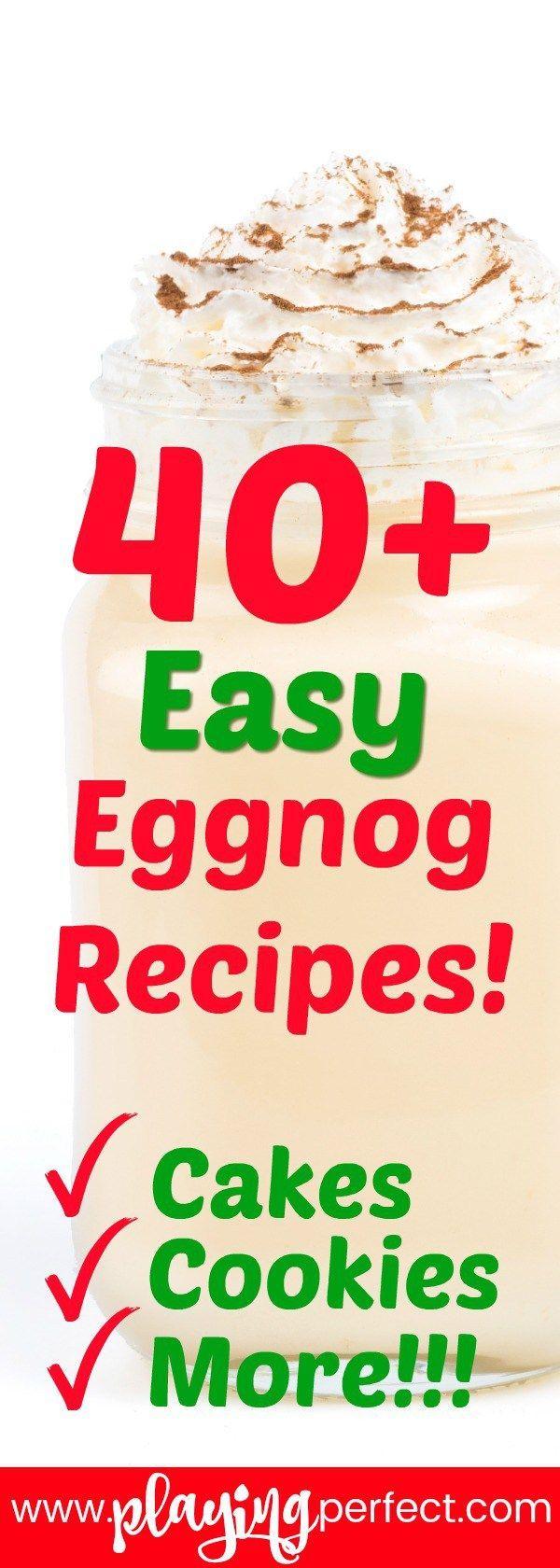 Eggnog time! Here are 43 eggnog recipes for you to try this holiday season! Eggnog cakes, eggnog cupcakes, eggnog ice cream, eggnog for breakfast, and eggnog for parties are all coming your way! Let's go all eggnog! FREE printable! | playingperfect.com | #recipes #eggnog #food #yum #foodrecipes #eggnogrecipes #desserts #breakfast #foodie #playingperfect #roundups #rounduprecipes #eat #makeit #momstuff #easyrecipes #comfortfood